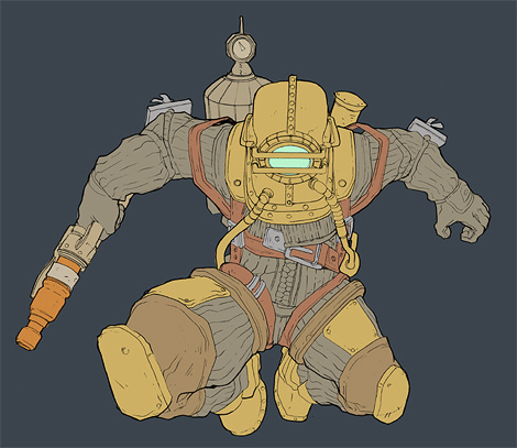 Photoshop Tutorial : Bioshock Videogame Digital Painting - Flats