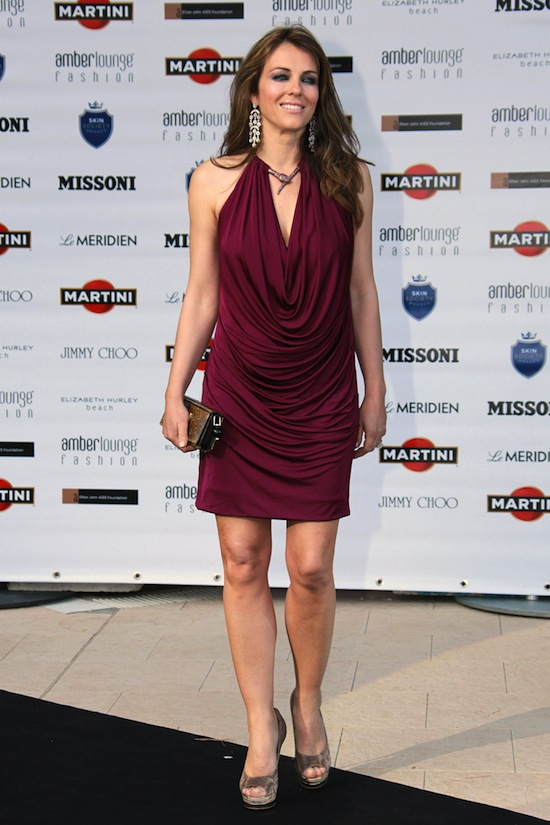 """698824c40aa8 Elizabeth Hurley chose to wear a Roberto Cavalli dress in occasion of the  """"Amber Fashion Lounge"""" held in Monte Carlo"""