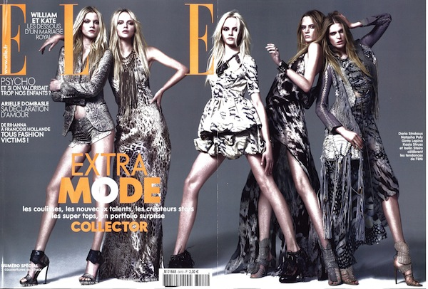 The cover of the May 6, 2011 issue of Elle France, featuring Roberto Cavalli total look.