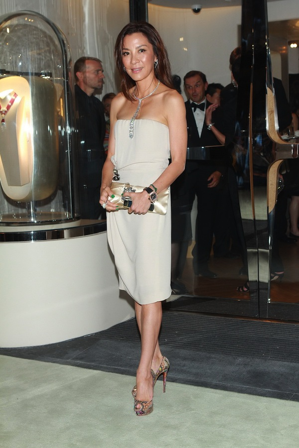 Michelle Yeoh in Roberto Cavalli at the opening of the new 'Van Cleef & Arpel' boutique