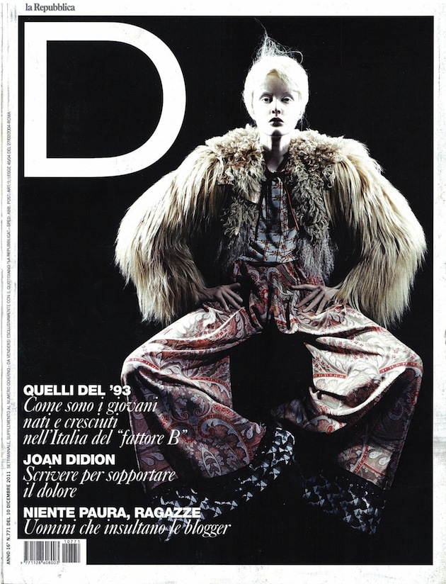 Just Cavalli total look on the cover of D Italy - December 10 2011