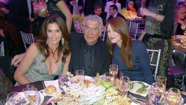 Roberto Cavalli with Cindy Crawford and Julianne Moore
