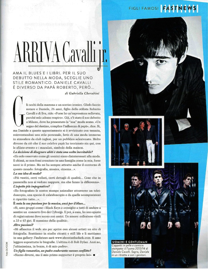 Roberto Cavalli Autumn/Winter 2013-14 Men's Collection special feature published in the January 31st, 2013 issue of Grazia Italy