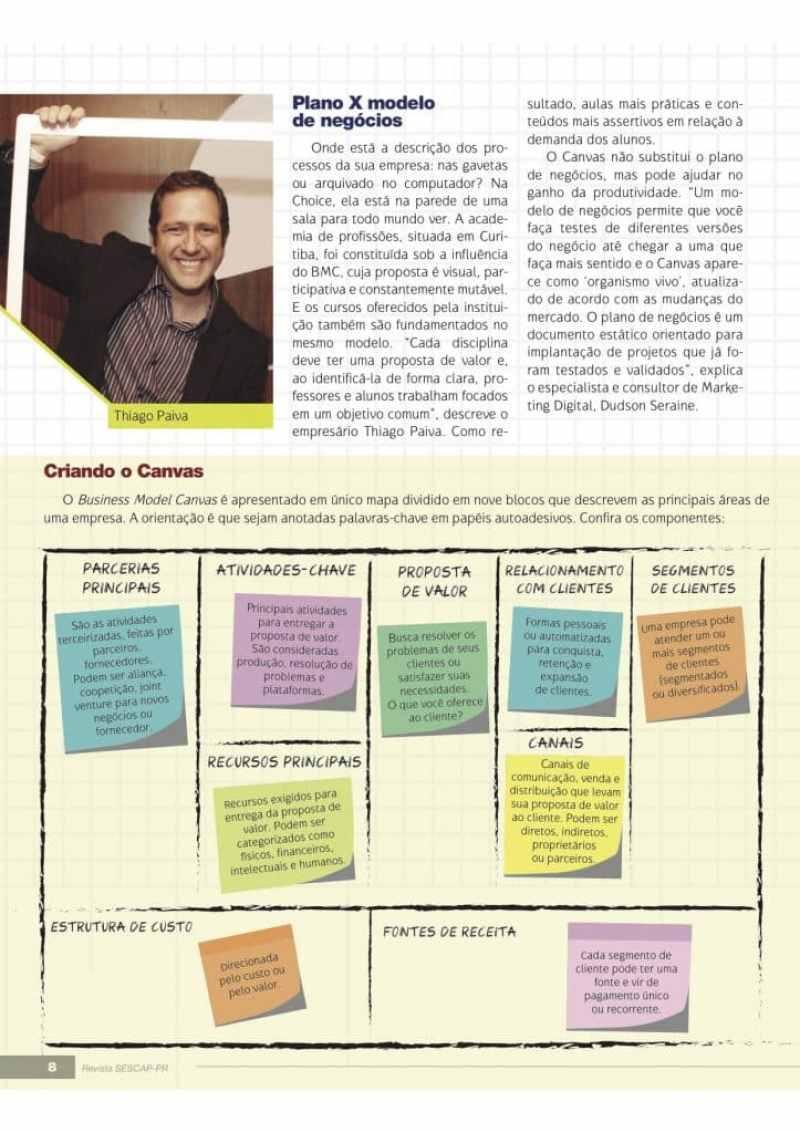 Matéria de capa da revista do SESCAP/PR: Canvas, modelo de negócios muda estratégias empresariais no setor contábil.