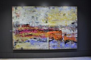 "Bugambilias al amanecer, 2017, Virginia Chévez, óleo sobre lino, exposición ""Pied à terre"".."