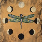 "Lunar Dragonfly, Roberto Gonzalez Rivera, Acrylic on Canvas, 6""x6"""