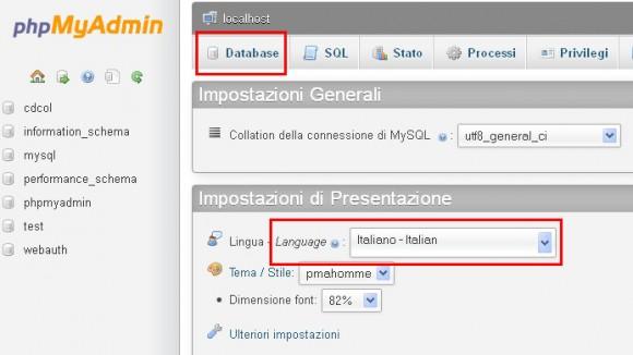 phpMyAdmin - creare database wordpress locale