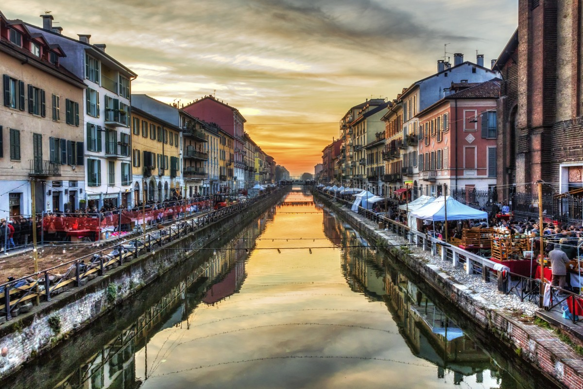 Sunset over Naviglio Grande