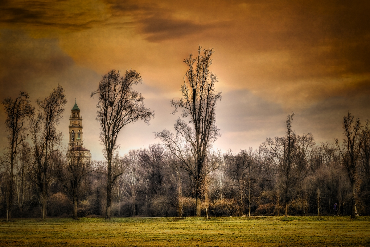 countryscape with bell tower