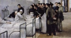 La sala del hospital en la visita del médico en jefe Luis Jiménez Aranda