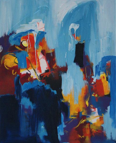schilderij, 655, robert, pennekamp, maar ik wil ook mee, 655, olieverf, canvas, linnen, abstract, blauw, lichtblauw, kopen, blauw, lichtblauw, figuratief, wild