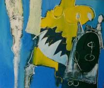 spannende kuiten, spannende , kuiten, schilderij, spannende kuiten, mooie, benen, 715, olieverf, robert, linnen, blauw, geel, mond, been, tanden, pennekamp, sexy, cool, abstract, figuratief, pennekamp