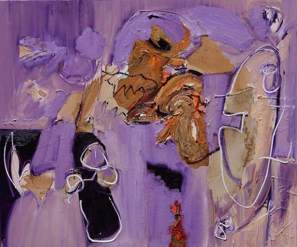 schilderij, ben je er klaar voor, olieverf, robert, linnen, pennekamp, paars, figuratief, liefde, sexy, gezicht, hoofd, kop, streetart, wild, ruig, fel