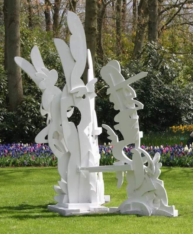 beeld, sculptuur, statue, sculpture, Upper Shadow, gevonden hout, Robert Pennekamp, keukenhof, recycle art, recycle, sloophout, wit,