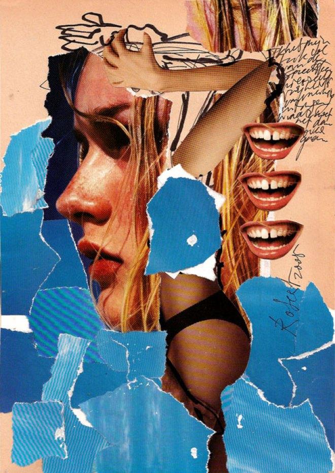 Collage, nr 2, Robert Pennekamp, A4 formaat, 20 * 30 cm, 2005. Gemengde technieken op papier, met babe, model, tekst, lippestift, oog