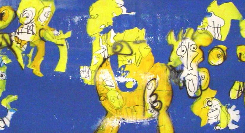schilderij, robert, pennekamp, 359, dansende, kip, kippen, geloof, strip, cartoon, groot, mega groot, te huur, te koop, party, aankleding, banier