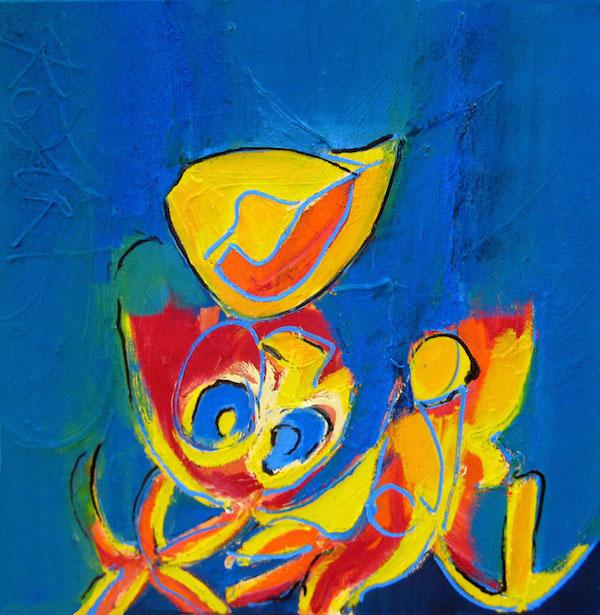 mond op mond, zoenen, kussen, vrouw, man, figuratief, schilderij, olieverf, robert, pennekamp, robert pennekamp, geel, blauw, abstract, figuratief, 682,