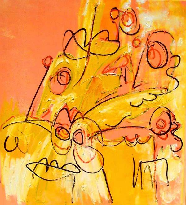 Komt wel goed, india, oranje, goeroe, robert, pennekamp, mooi , schilderij, geel, boeddha, boeddhistisch, dynamisch, expressief, mensen, meningen, vliegen