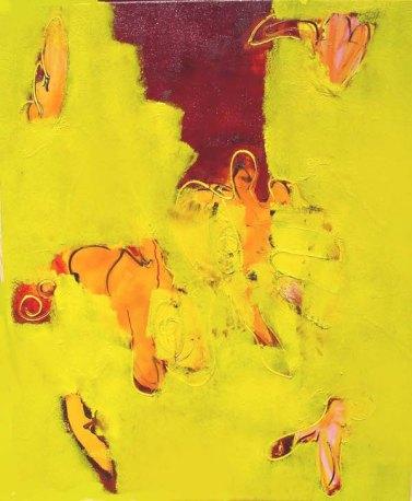 grondig geel, abstract, geel, fel, india, oranje, goeroe, robert, pennekamp, mooi , schilderij, geel, boeddha, boeddhistisch, dynamisch, expressief, 454