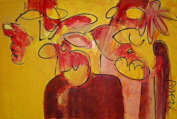 zet hem op, trots, laat zien, robert, pennekamp, mooi , schilderij, geel, boeddha, india, geel, cobra, abstract, 472, expressief, dynamisch, mens, gezicht