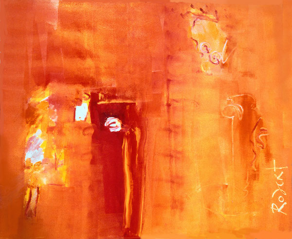 prasanti lekkerwel, 124, prasanti, india, oranje, goeroe, robert, pennekamp, mooi , schilderij, geel, boeddha, miljonair, rode aarde, gelukkig, abstract, 124