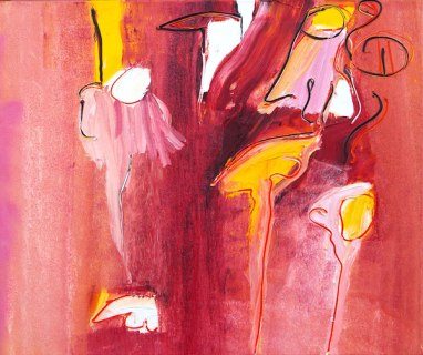 genoeg, kleuren, rood, oranje, roze, geel, abstract, figuratief, schilderij, robert, pennekamp, robert pennekamp, lekker, heerlijk, aarde, gezichten, paars