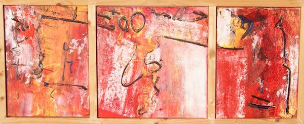 oog in oog, 111, hert, neus, gezicht, robert pennekamp, robert, pennekamp, schilderij, painting, dancing, oil, canvas, rood, red, rose, face
