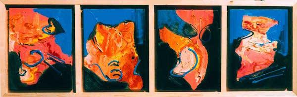 abstract, roze, expressief, leuk, mooi, robert pennekamp, robert, pennekamp, schilderij, painting, dancing, oil, canvas, blauw, streepertjes, 281, 4 luik