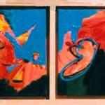 abstract, roze, expressief, leuk, mooi, robert pennekamp, robert, pennekamp, schilderij, painting, dancing, oil, canvas, blauw, krabbertjes, 282, 4 luik