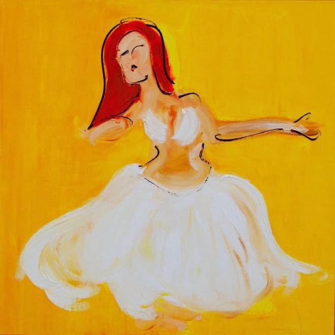 Bellydance Art Experience, buikdans, buikdanswinkel, robert, pennekamp, belly dance, buikdanseres, amsterdam, schilderij, olieverf, linnen, beweging, toppers, top, maar, 296, wit, jurk,