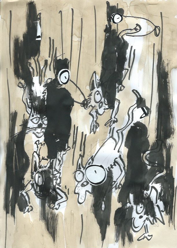 After, It's raining cats and dogs, rain, strip, cartoon, gemengde technieken op papier, Robert Pennekamp