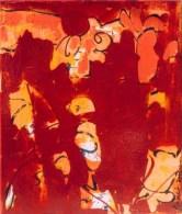 Vlieggeluk, 172, vogel, vliegen, Robert Pennekamp, gemengde technieken op doek, acryl, streefart, cartoon, strip, rood, oranje, geel