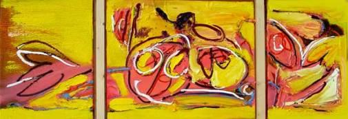 winnen, robert pennekamp, olieverf, art, painting, kleurig, kleurrijk, cobra, gezicht, geel, 3 luik, zonnig, leven, krachtig, vrolijk, contemporary art, doek,