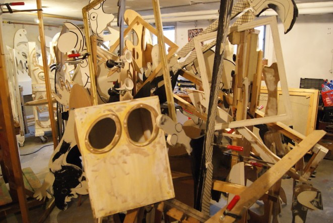 contemporary, installation, art, found objects, solution, problem solving, ongoing, assemblage, robert, pennekamp, robertpennekamp, trash art, street art, recycle art, wood clamps, construction, building, puzzle, new world, new