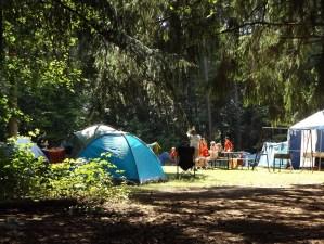 Blue tent camp