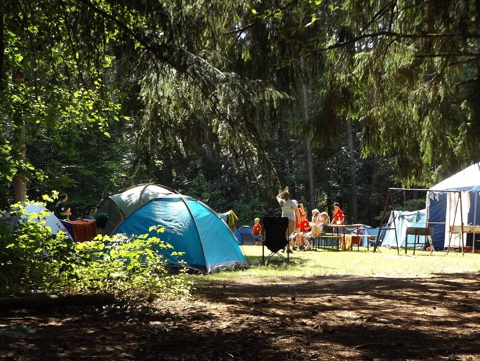 Blue tent camp