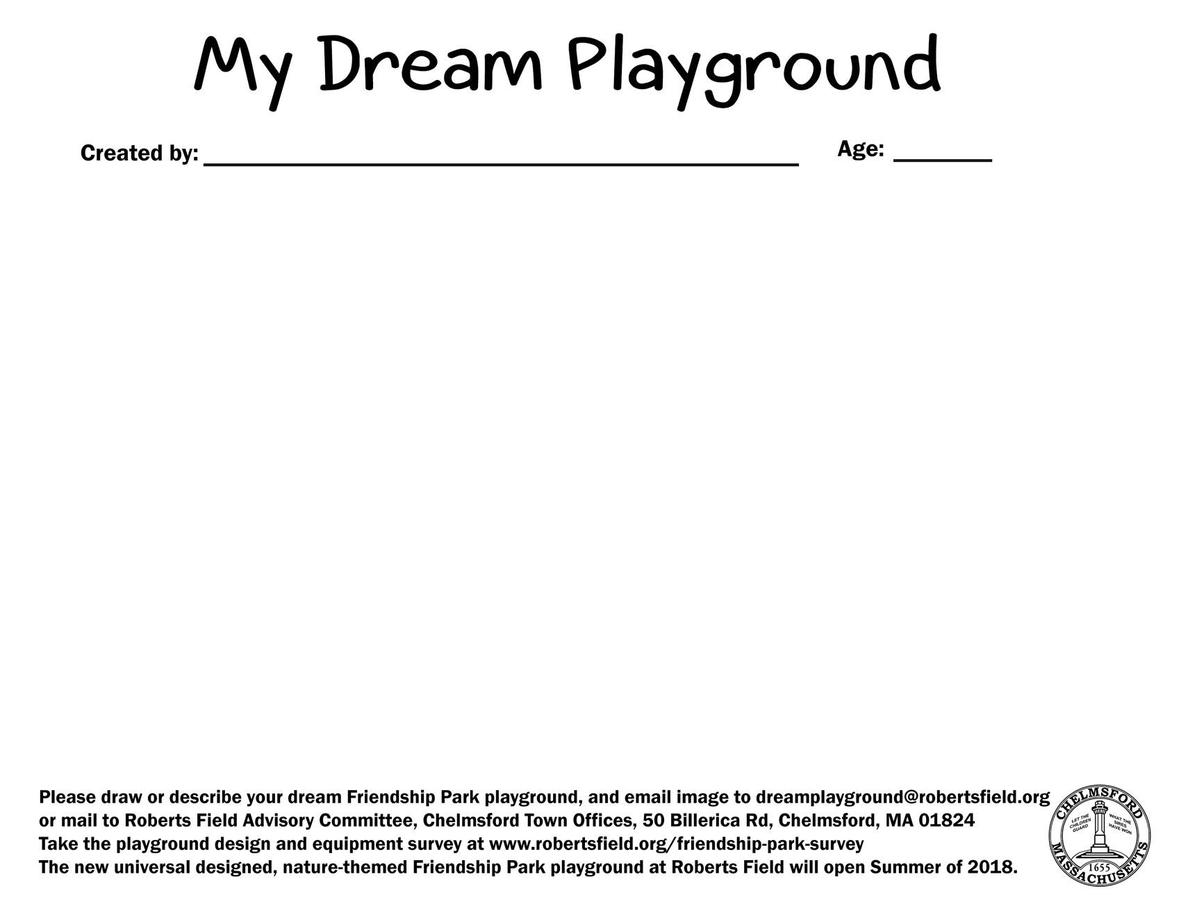 My Dream Playground Worksheet Roberts Field In Chelmsford Ma