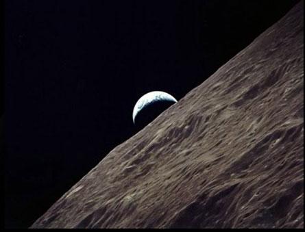 Earthrise, as seen by Apollo 15