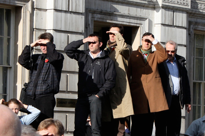 Onlookers at the ceremony to mark the 90th Anniversary of the end of the Great War 1914-18