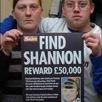 Karen Matthews and Craig Meehan pose with a 'Sun' branded reward poster, February 2008