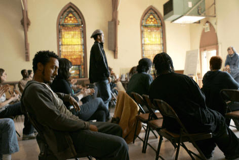 Bubbles at an NA meeting (Series 5, The Wire)