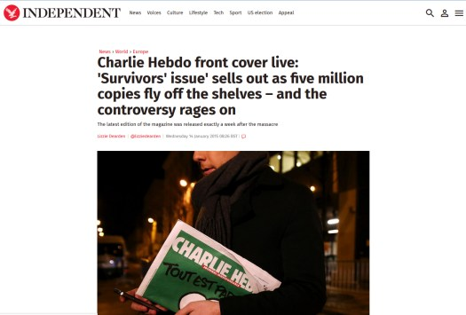 independent hebdo cover