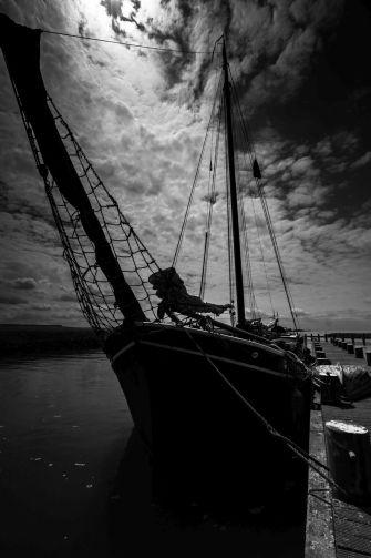 Zeilschip in tegenlicht bij Oostvaardersdijk