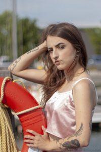 Amelia Eirynn with life preserver at Marina Park