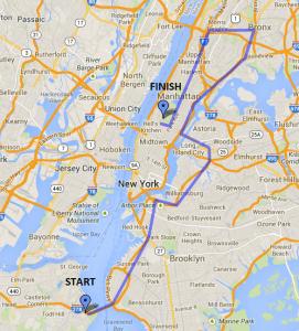 NYCM Marathon map 2014