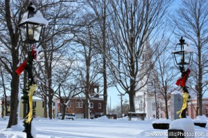 Foxboro Christmas - Snowy Lightpost Foxboro Common