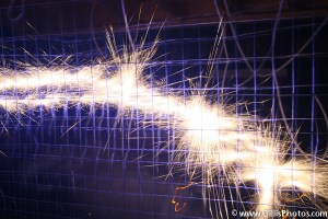 Electric sparks on metal wire