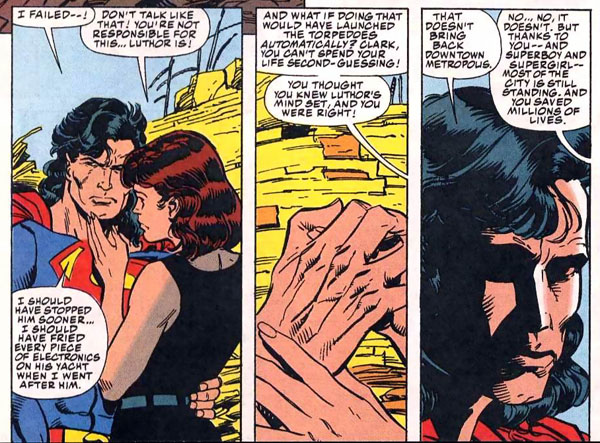 After a fierce attack by Luthor's machines, Superman expressing his regret to Lois for the destruction in Metropolis Comics #700