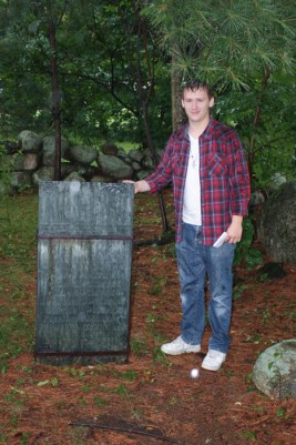 After years of searching, Colin McNelley stands at the site of Willey Family grave in New Hampshire [photo by Robert Gillis]
