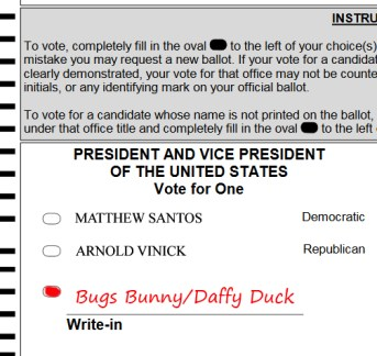 PLEASE do not write-in cartoon characters, ineligible names, or protest statements in the write in field in Massachsuetts